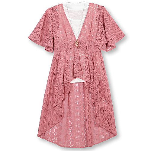 Speechless Girls' Big Printed Lace Vest 2 Piece