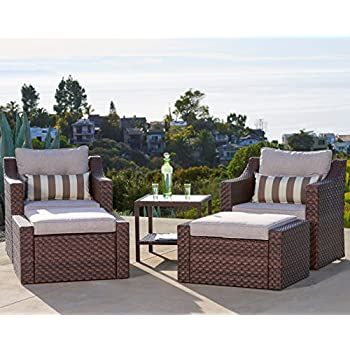 Amazon Com Outdoor Patio Furniture 5 Piece All Weather