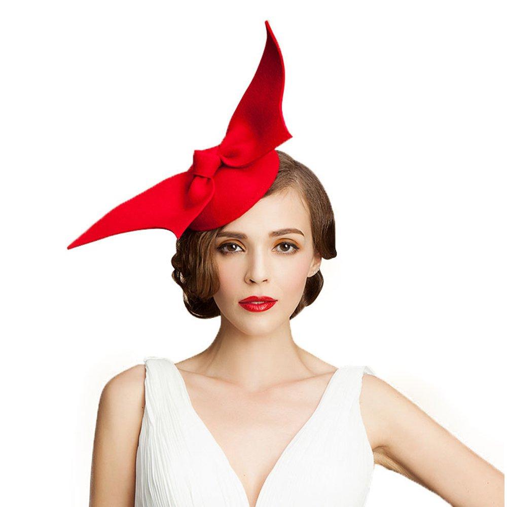 Women Fascinator Derby Wedding Pillbox Hats Vintage Woollen Felt Bow Party Hat