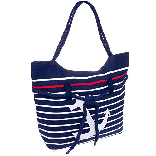 SilverHooks Women's Striped Anchor Tote Bag (Navy & (Anchor Tote Bag)