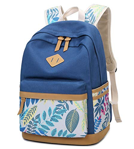 Lmeison Cavans Backpack for Girls, Leaf Printing School Backpack for Teens Student Bookgbag Laptop Bag Travel Daypack Shoulder Bag Fashion Rucksack College Bookbag(Blue)