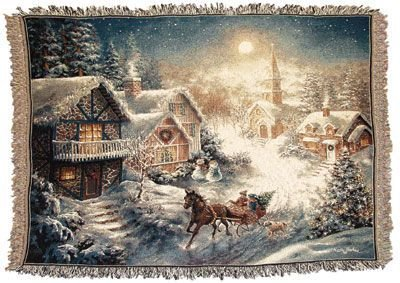 Simply Home One Horse Open Sleigh Tapestry Throw Blanket ()