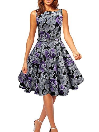 Eyekepper vestido de epoca de los años 50 envuelta en el pecho Peonia impreso oscilacion morado