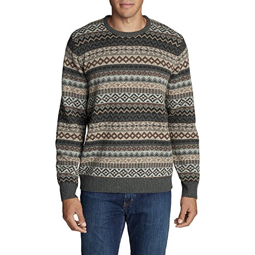 Eddie Bauer Men's Fair Isle Crew Sweater, Highland Brown Htr - Isle Sweater