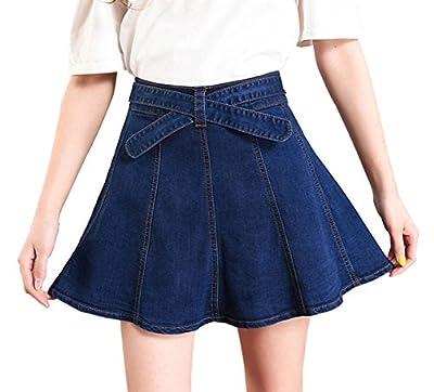Women's Stretchy Belted A-Line Flared Mini Skater Denim Short Skirt