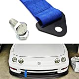 iJDMTOY Sporty Blue High Strength Racing Tow Strap Set For Front Or Rear Bumper Towing Hook