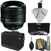 Nikon 85mm f/1.8G AF-S Nikkor Lens with Shoulder Bag + 3 UV/CPL/ND8 Filters + Kit for D3200, D3300, D5200, D5300, D7000, D7100, D610, D800, D810, D4s DSLR Cameras