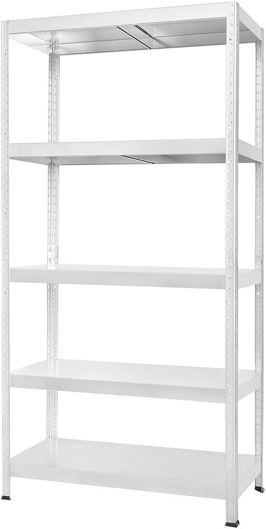 Estantería Metálica Drutal de 180x90x40 con 5 Bandejas Metálicas color Blanco