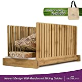 Bamboo Bread Slicer   Perfect Homemade Bread Slices Using Wooden Cutting Guide   Compact & Foldable   FREE Storage Tote Bag!