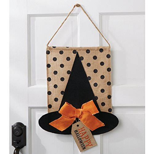 [Mud Pie Halloween Home Decor Wall or Door Witch Hat Burlap Flag] (Halloween Decor For Home)