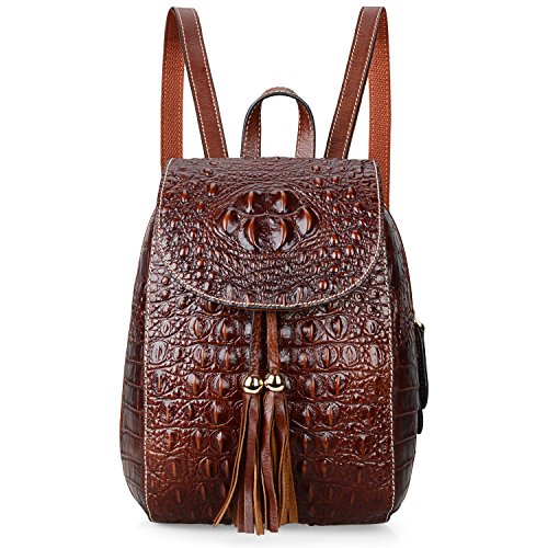 PIJUSHI Leather Backpack For Women Crocodile Bags Fashion Casual Backpack Purses (B66810 Brown)