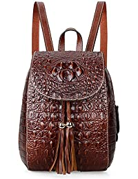 Leather Backpack For Women Crocodile Bags Fashion Casual Backpack Purses