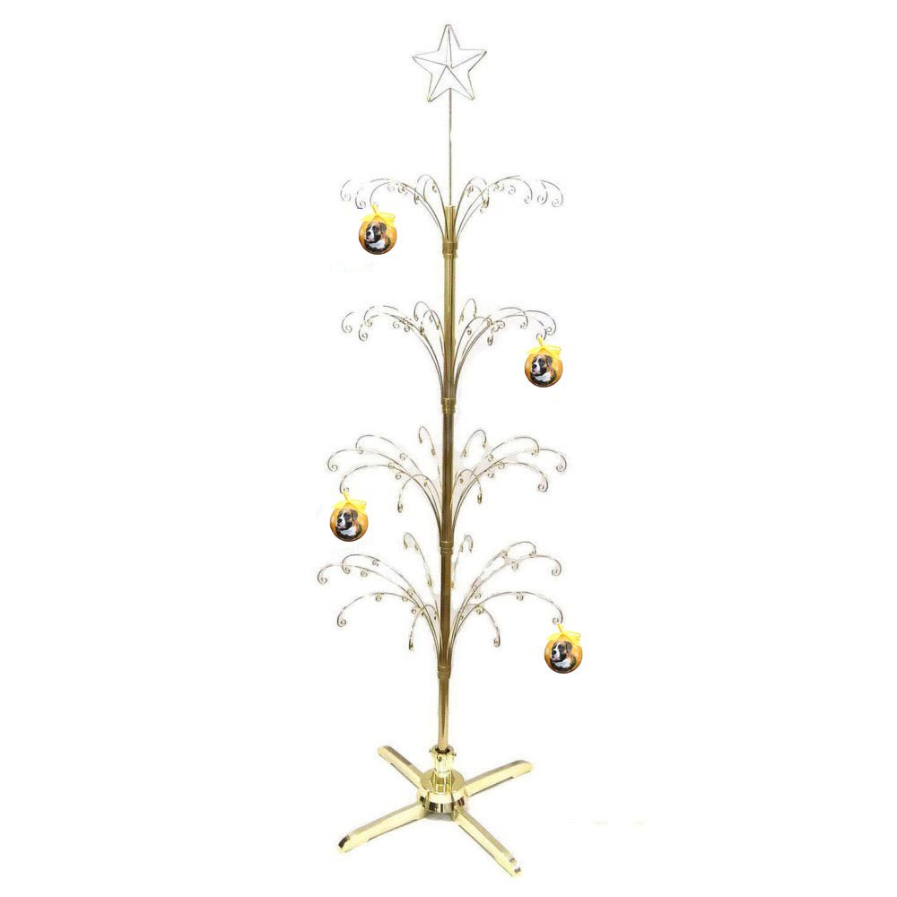 HOHIYA Metal Christmas Ball Ornament Display Tree Rotating Stand Brass Plated 90 Hooks 74inch(Gold) by HOHIYA