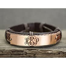 Rose Gold Monogram Bracelet, Personalized Loved one's 3 Initials, Name Plate Engraved, Copper Leather Cuff, Monogrammed Gift
