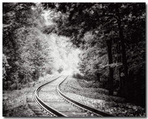 Black and White Railroad Photograph, Autumn Landscape Photo, Train Tracks Print. (Pictures Train Vintage)