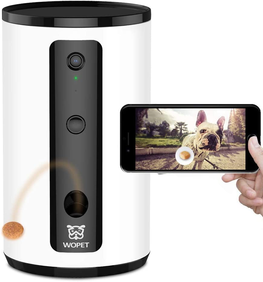 WOPET Smart Pet Camera Dog Treat Dispenser, Full HD WiFi Pet Camera with Night Vision for Pet Viewing,Two Way Audio Communication Designed for Dogs and Cats,Monitor Your Pet Remotely