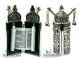 Beautiful Silver Plated Sefer Torah Scroll Chumash Pentateuch Jerusalem Israel