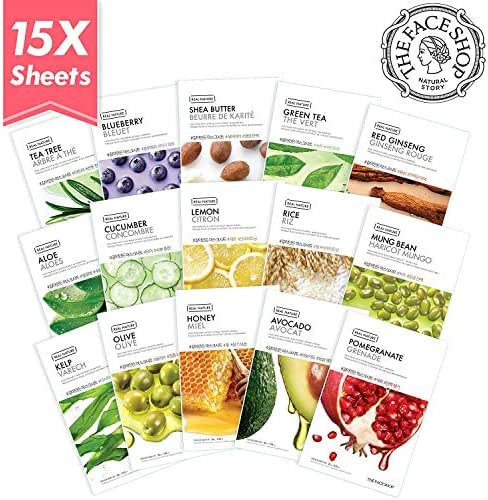 The Face Shop Facial Mask Sheets (15 Treatments), Real Nature Full Face Masks Peel Off Disposable Sheet (Pack of 15)