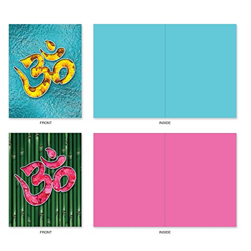 M3971 Om Blooms: 10 Assorted Blank All-Occasion Note Cards Feature a Universal Symbol for Peace and Serenity, w/White Envelopes. Photo #5