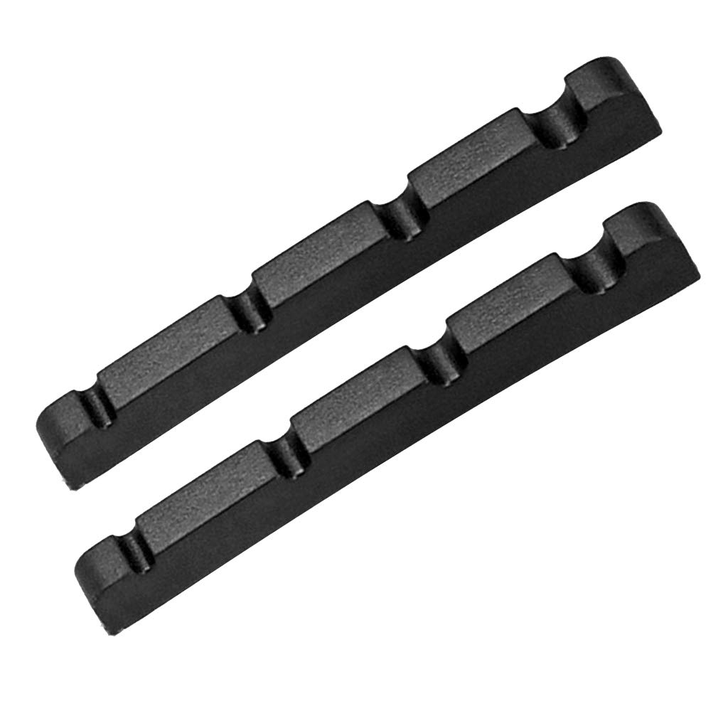 Baosity Exquisite 2 Pcs Electric Bass Slotted Nuts for String Instrument 38x3x6mm - Black