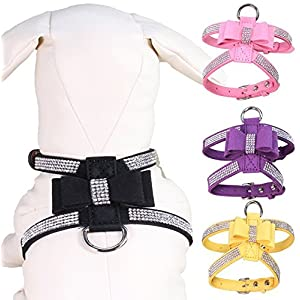 Vivi Bear dog harness collar Bling Diamond Glitter Crystal Adjustable Collar Puppy Cat Dog Harness Chest Strap Lead Dogs Supplies Accessories Rhinestone Dog Necklace Pu Leather bow-knot.(Black M)