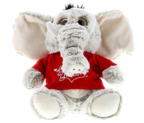 DolliBu Sitting Elephant Big Eye I Love You Valentines Stuffed Animal - Red Message Tshirt - 7 inch - Super Soft Plush - Item #K5189-5994 ()