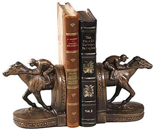 EuroLuxHome Bookend Horseshoe Rider Cast Resin New Hand-Cast Hand-Painted Painted
