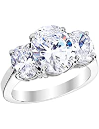3 Three Stone GIA Certified Oval Diamond Engagement Ring Platinum (D-E Color VS1-VS2 Luxury Collection)