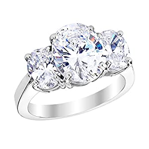 1 Carat 14K White Gold Oval Cut 3 Three Stone Diamond Engagement Ring (H Color VS1 VS2 Clarity)
