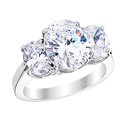 1 Carat 14K White Gold Oval Cut 3 Three Stone Diamond Engagement Ring (H Color VS1-VS2 Clarity) by Diamond Manufacturers USA