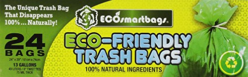 Eco-smartbags Tall Kitchen Trash Bags, 13-Gallon, 24-Count Boxes (Pack of - Bags Kitchen Trash Biodegradable