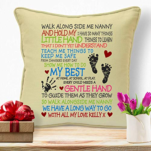 IGSUKCB Personalised Cushion Fathers Day Birthday Gifts for Daddy Walk with Me Poem #558