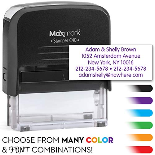 (MaxMark Large Size - 5-Line Custom Return Self Inking Address Stamp - w/ 5-Year Warranty)