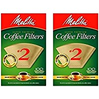 Melitta Cone Coffee Filter #2 100 Count- Natural Brown (2 pack)