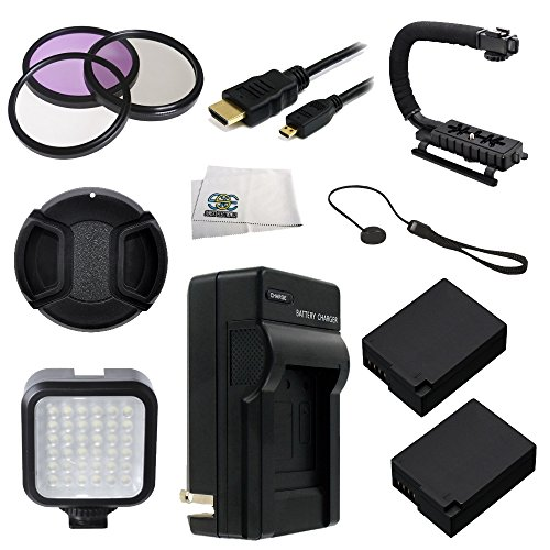 62MM 12PC Accessory Bundle for Panasonic Lumix DMC-FZ1000 4K QFHD/HD Digital Camera Includes 3 Piece Filter Kit, 2 Extended Life Replacement Batteries, LED Video Light, Stabilizing Handle + MORE