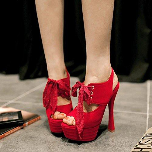 Carolbar Femmes Dentelle Lace Peep Toe Mode Soirée Club Sexy Plate-forme À Talons Hauts Robe Sandales Rouge