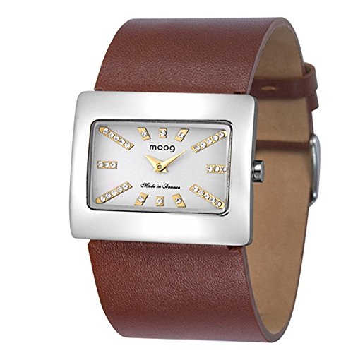 Moog Paris - Supra - Women's Watch with silver dial, brown strap in Genuine leather, made in France - M41642-105