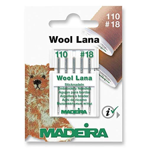 New Madeira 9452 Embroidery Wool Machine Needle, Size 16/100