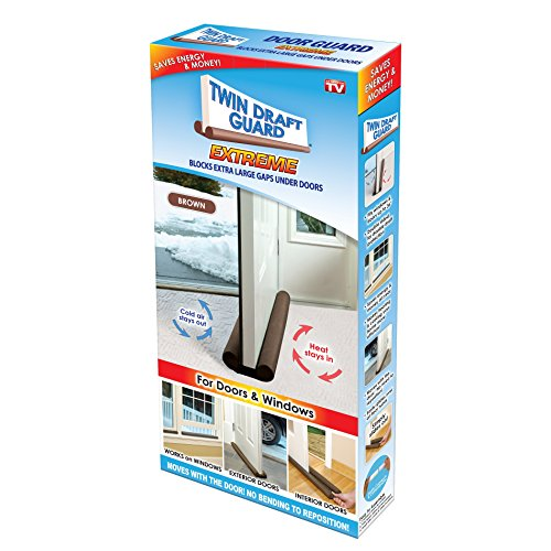 Door Draft Guard (Twin Draft Guard Extreme in Brown - Energy Saving Under Door Draft Stopper)