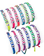 Lorfancy 12 Pcs Kids Bracelet for Girls Jewelry Toddler Letter Beads Bracelets Teen Baby Friendship Cute Adjustable Multicolor Woven Pretend Play Bracelet