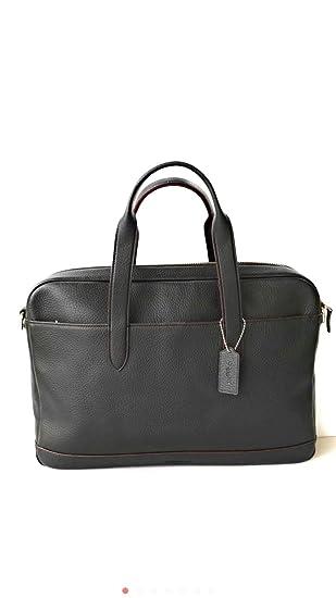95f08d8d86 COACH Men s Pebble Leather Hamilton Briefcase Crossbody Laptop Bag Black  Oxblood Red F11319