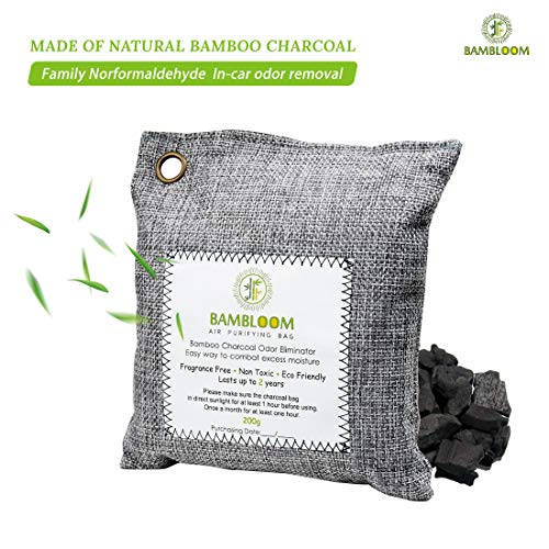 Bamboo Charcoal Odor Eliminator Absorber - Air Purifying Bags for Room | Basement | Bathroom | Gym, Car Freshener | Natural & Eco Friendly, 200g