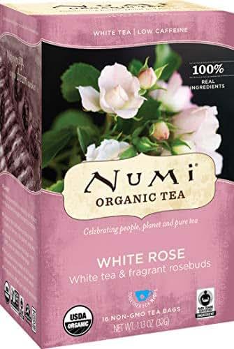 Numi Organic Tea White Rose, 16 Count Box of Tea Bags, White Tea (Packaging May Vary)