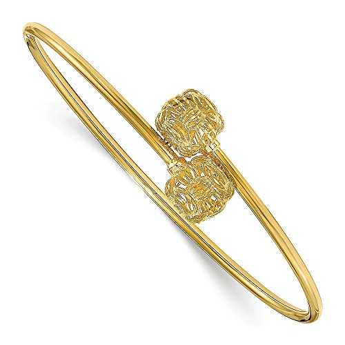 (Solid 14k Yellow Gold Basketweave Flexible Cuff Bangle (2mm))