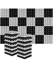 Acolchado Insonorizado, AGPtEK 24 Paquetes de Espuma Insonorizadora 25x25x5CM Paneles de Espuma Acústica, Ideales para Grabar en Estudios, Salas de TV, Habitaciones de Niños - 12 Negro, 12 Gris
