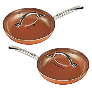 Amazon Com Copper Chef 10 Quot Round Pan With Lid 2 Pack