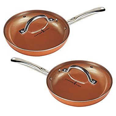 Copper Chef 10  Round Pan with Lid 2 Pack