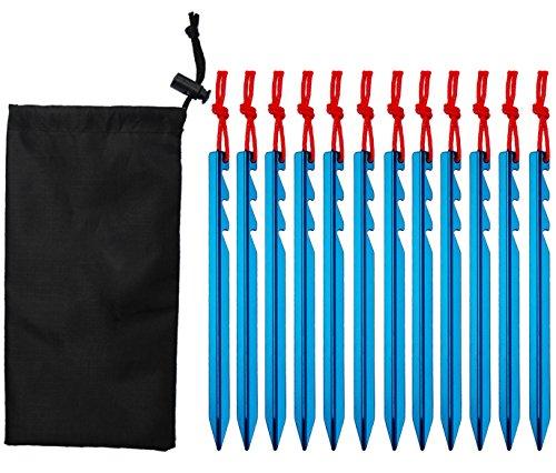 盲目数値解くYunxin 12 テントステッキキャンプ、レインタール、ハイキング、バックパッキング用ヘビーデューティー軽量の強力なアルミニウム合金ペグ。エキゾーストキャンプ&サバイバルギア。ENOアクセサリー。 収納袋