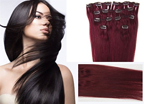 Clip In Hair Extensions Real Human Hair Extensions Clip In Extensions Thick Clip In Human Hair Extensions 7pc 70g 22inches dark red wine burgundy(Best Buy 2-5 Sets)