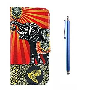 GJY Elephant Pattern PU Leather Cover and Capacitance Pen with Stand for iPhone 6